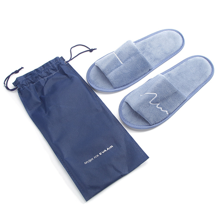 Open toe blue disposable travel airline slippers for men