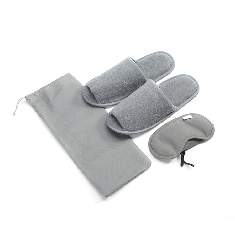 Open toe coral fleece airline slippers with shoehorn