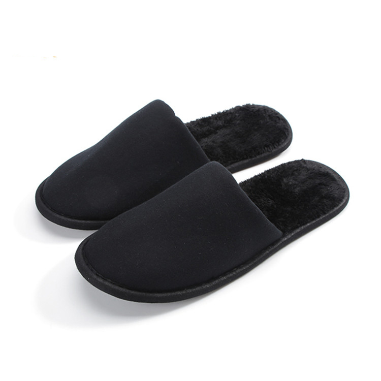 Velveteen fabric black soft low price airline slippers