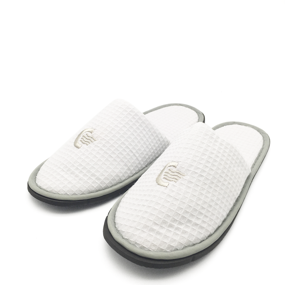 White fluffy personalized hotel import slippers