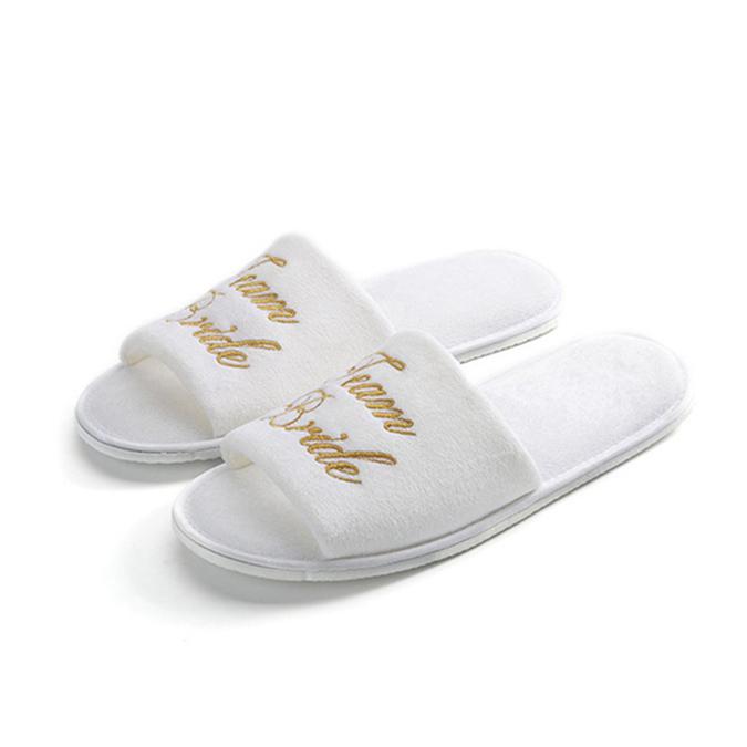 Latest design embroidered velvet slipper for wedding